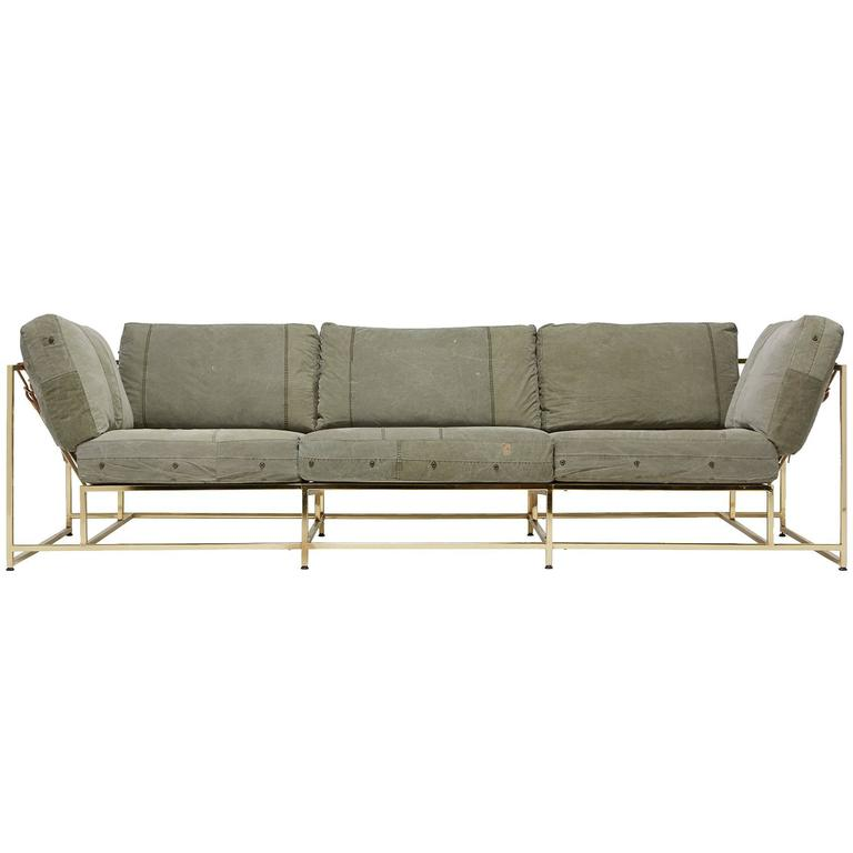 Vintage Military Canvas and Polished Brass Sofa