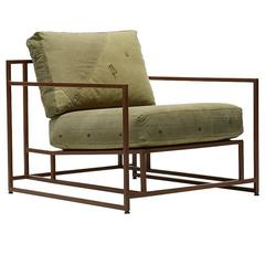 Vintage Military Canvas and Marbled Rust Armchair
