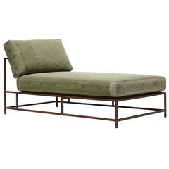 Vintage Military Canvas and Marbled Rust Chaise Longue