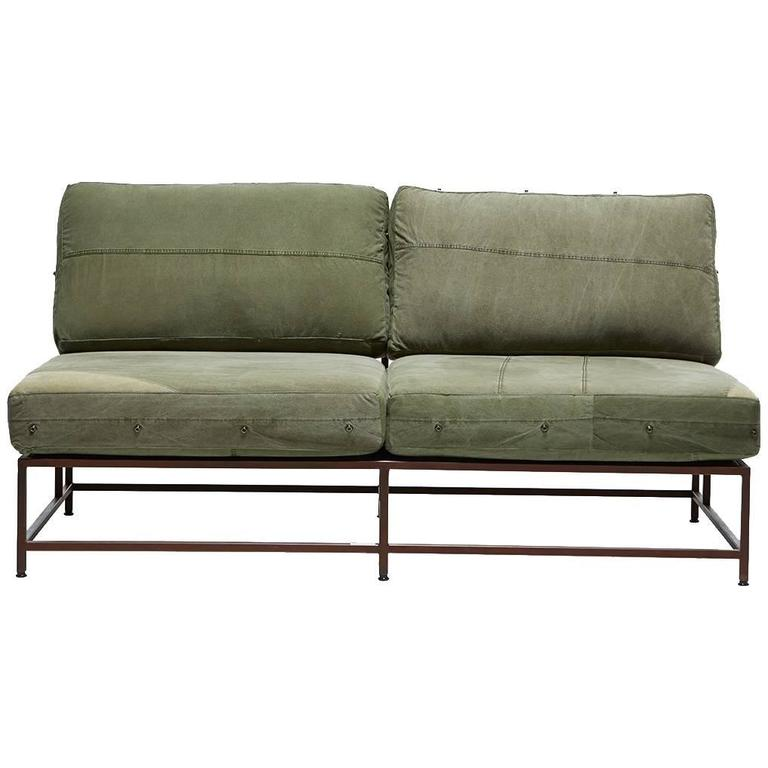 Vintage Military Canvas And Marbled Rust Loveseat For Sale