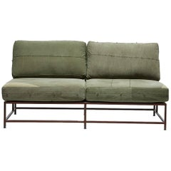 Vintage Military Canvas and Marbled Rust Loveseat