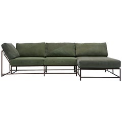 Vintage Military Canvas & Marbled Rust Chaise Sectional