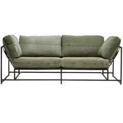 Vintage Military Canvas and Marbled Rust Two-Seat Sofa