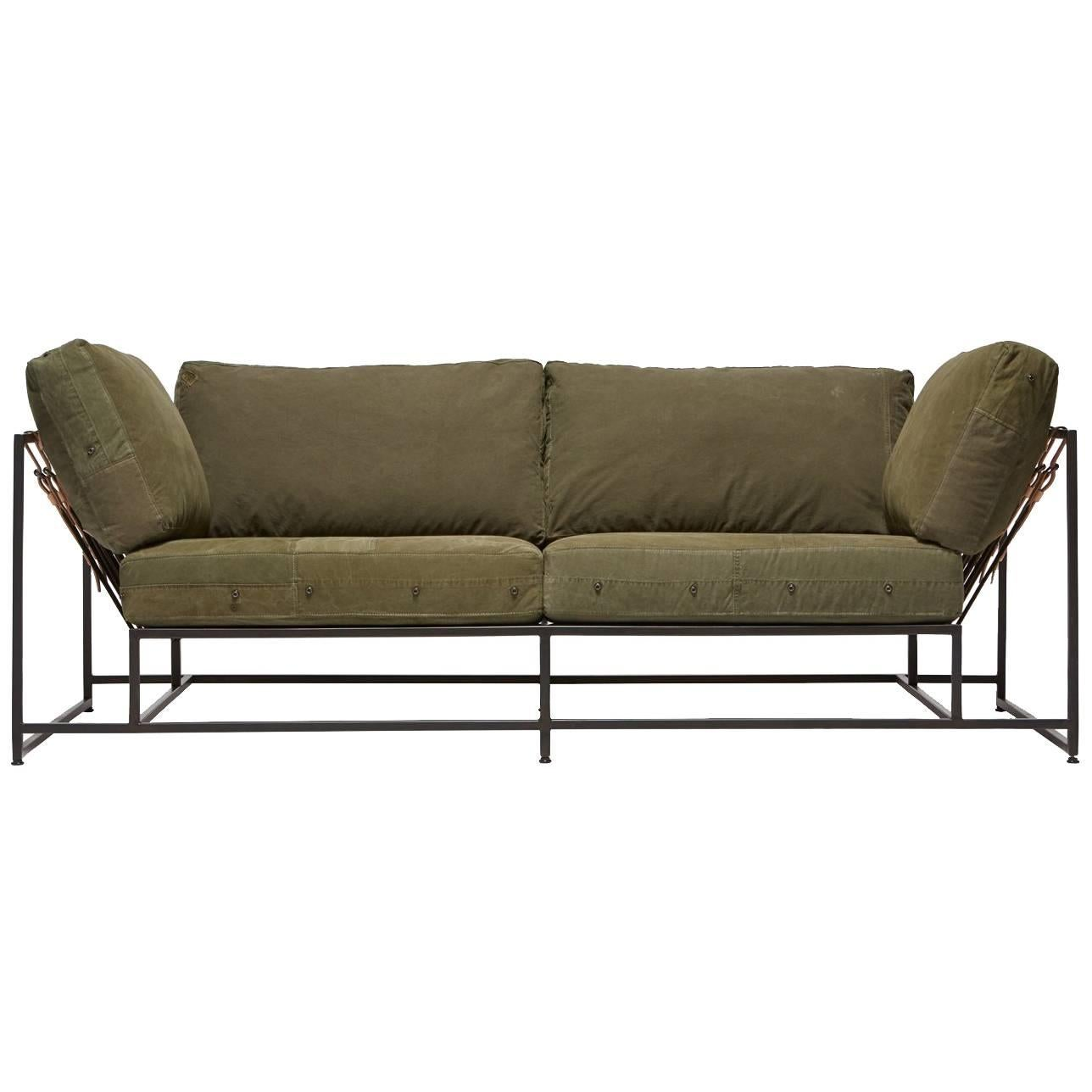 Vintage Military Canvas and Blackened Steel Two Seat Sofa V1