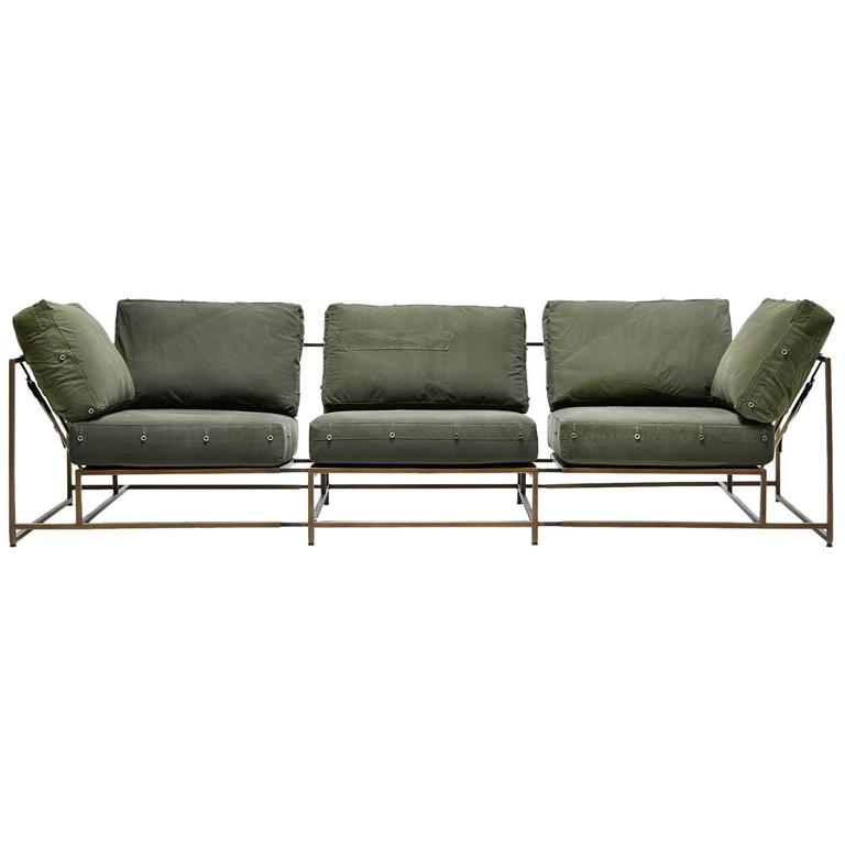 Vintage Military Canvas and Antique Brass Three Piece Sofa For Sale