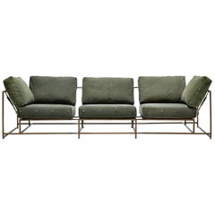 Vintage Military Canvas and Antique Brass Three Piece Sofa