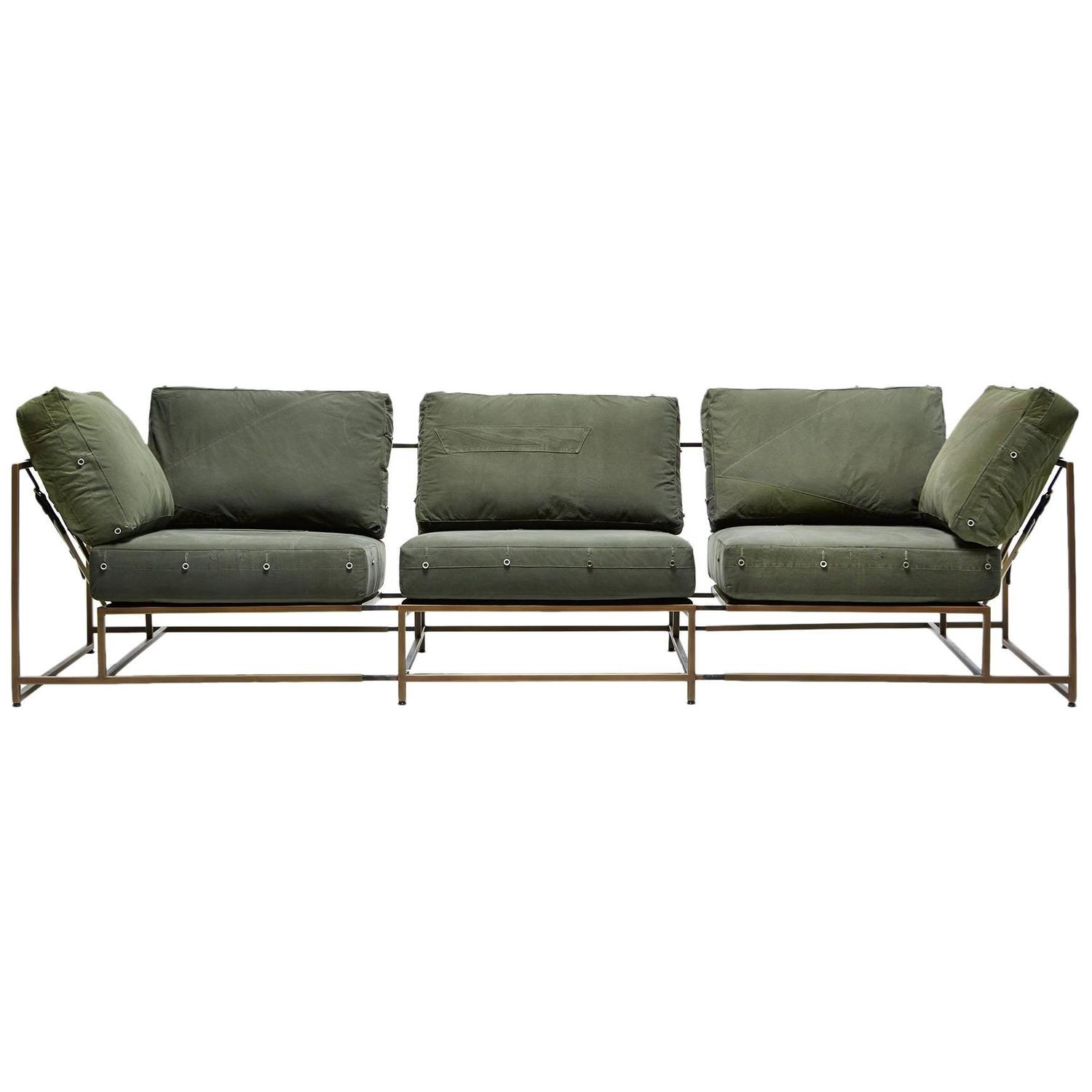 Vintage Military Canvas and Antique Brass Three Piece Sofa For