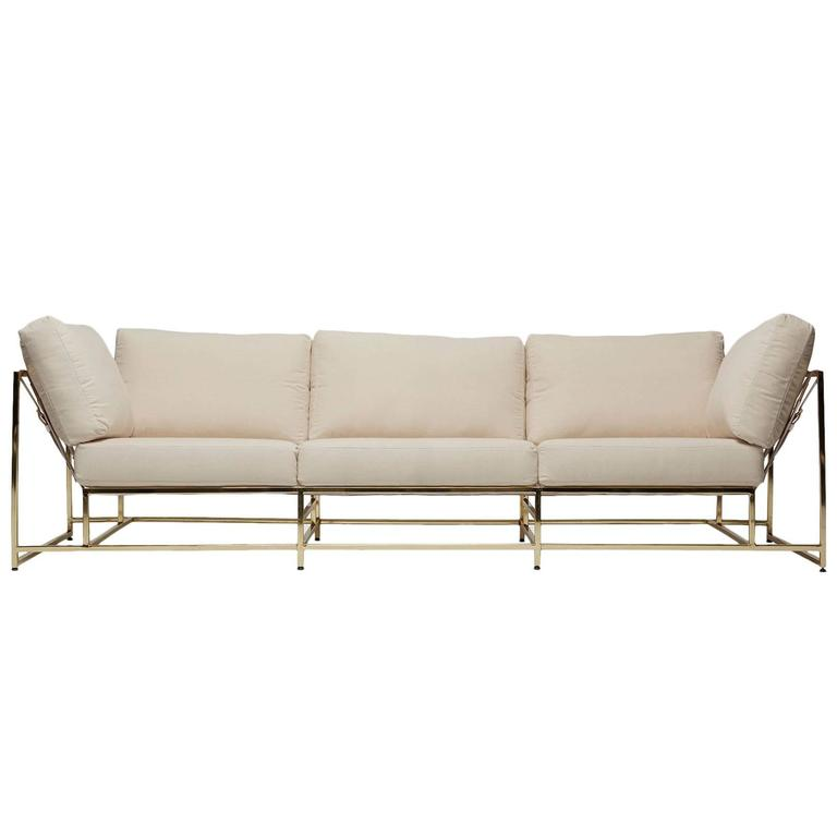 Natural Canvas and Polished Brass Sofa