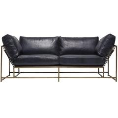 Indigo Leather and Antique Brass Two Seat Sofa