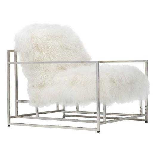 White Mongolian Sheepskin and Polished Nickel Armchair