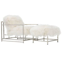 White Mongolian Sheepskin and Polished Nickel Armchair and Ottoman