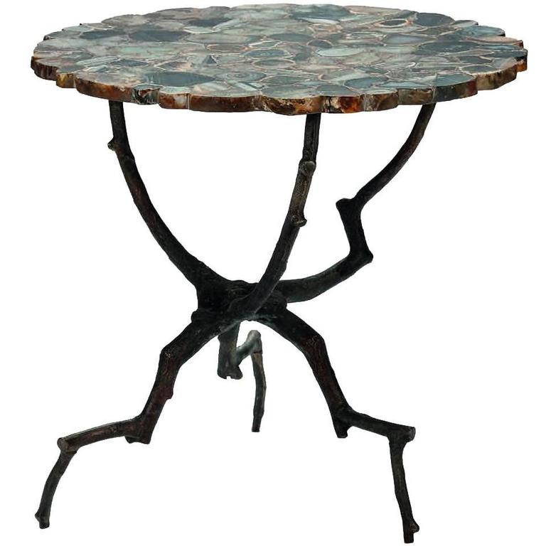 Agate Top, Branch Legs Side Table, Belgium, Contemporary For Sale