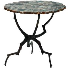Agate Top, Branch Legs Side Table, Belgium, Contemporary