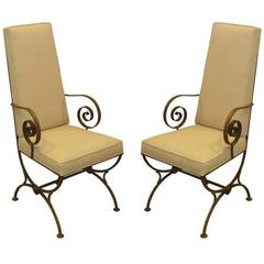 Pair of Gilt, Iron Chairs