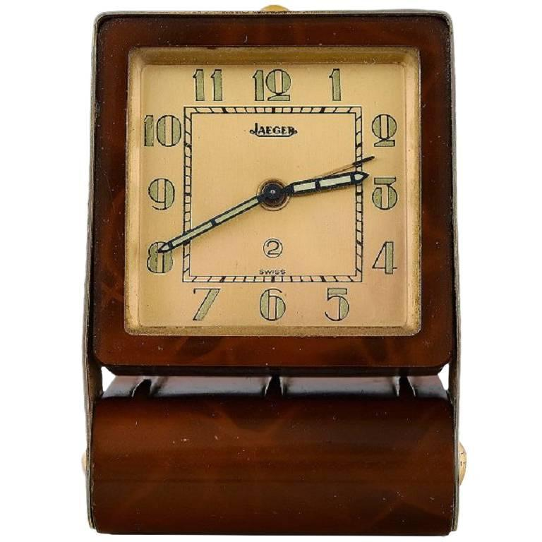 Art deco travel alarm clock tortoiseshell and brass jaeger lecoultre