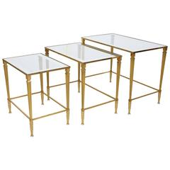 Italian Brass Nesting Tables, Set of Three, circa 1950