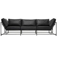 Obsidian Black Leather and Blackened Steel Sofa