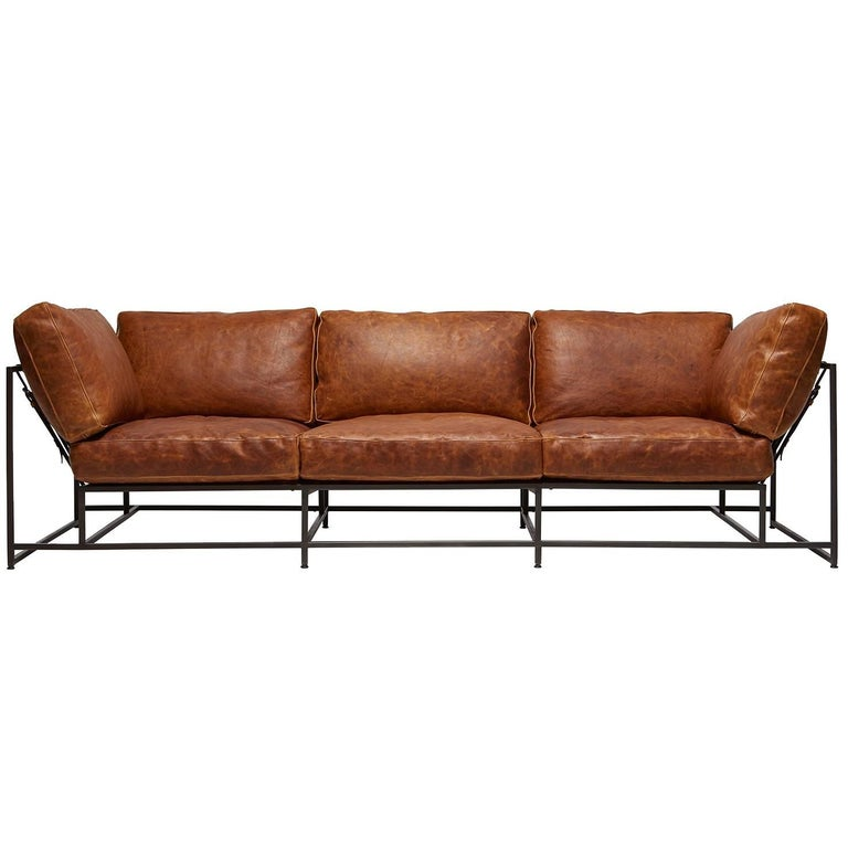 Cognac Brown Leather and Blackened Steel Sofa For Sale