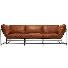 Cognac Brown Leather and Blackened Steel Sofa