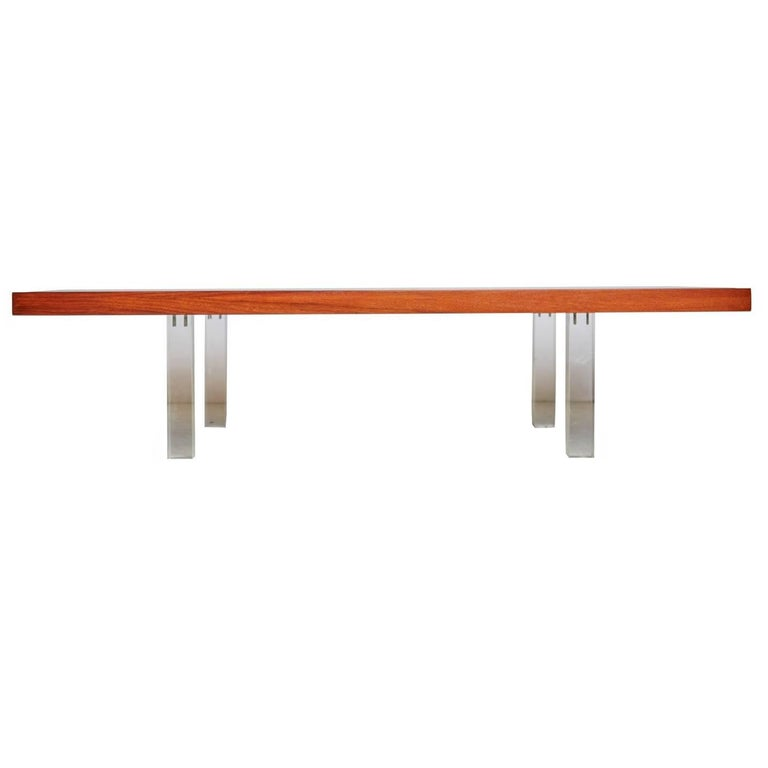 Milo Baughman for Directional Walnut and Lucite Coffee Table, 1960s, Restored For Sale
