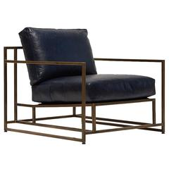 Indigo Leather and Antique Brass Armchair