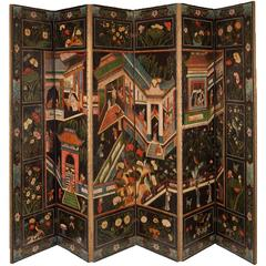 Fine Six-Panel Chinoiserie Polychrome Painted and Embossed Leather Screen