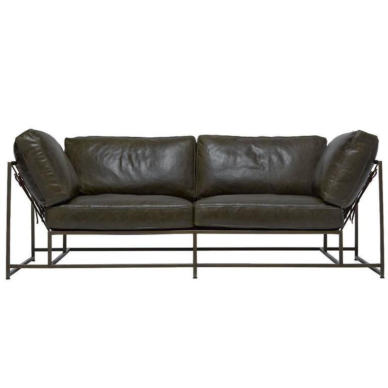 Indigo Leather and Antique Brass Two Seat Sofa For Sale at 1stdibs