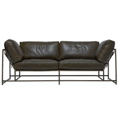 Olive Dark Green Leather and Antique Brass Two-Seat Sofa