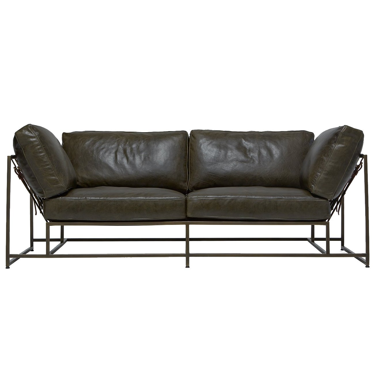 Olive Dark Green Leather And Antique Brass Two Seat Sofa For Sale At 1stdibs
