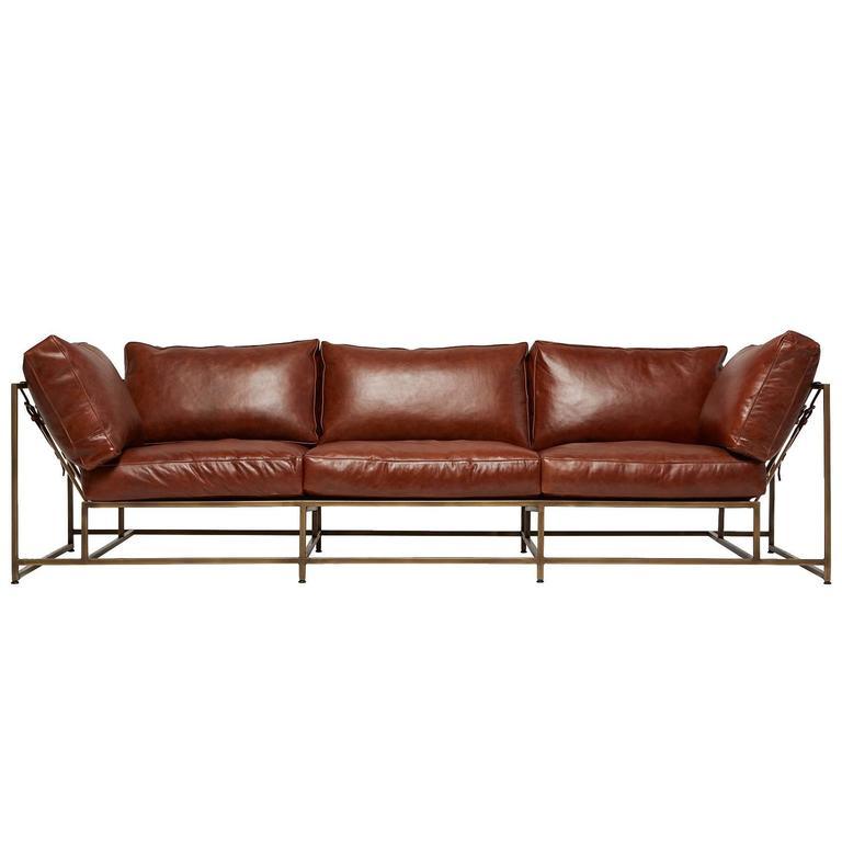 Walnut Brown Leather and Antique Brass Sofa For Sale