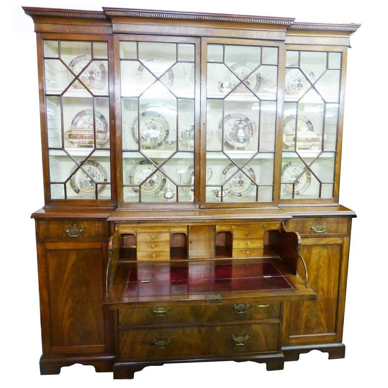 George III Mahogany Breakfront Secretaire Bookcase of Small Proportions