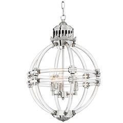 Empiro Chandelier in Clear Acrylic Glass and Nickel Finish