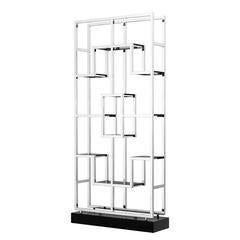 Lagun Shelve in Polished Stainless Steel and Smoke Glass