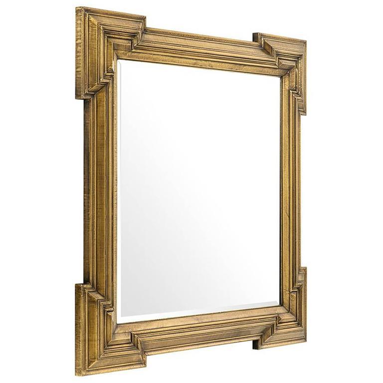 Scuadro Mirror with Antique Brass Finish Square Frame