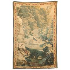 French Aubusson Tapestry with Pastoral Scene in Vertical Format, circa 1800