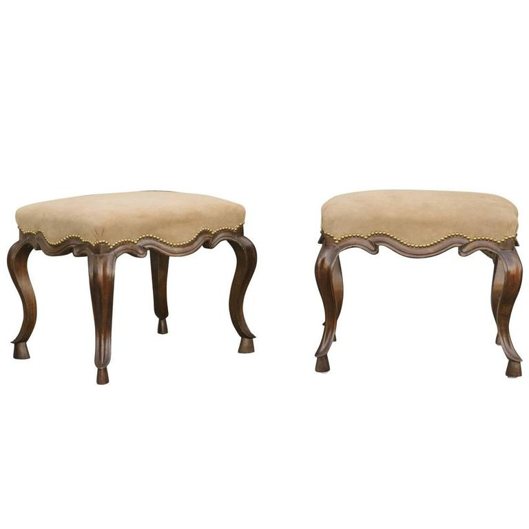 Pair of Italian 19th Century Walnut Stools with Suede Upholstery