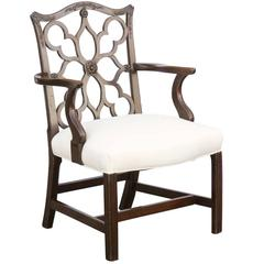 English Gothic Chippendale Style Mahogany Armchair from the Turn of the Century