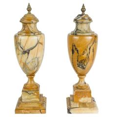 Pair of Regency Marble and Blue John Classical Urns circa