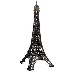A Tall Heavy Iron Statue Replica of the Eiffel Tower Made of Vintage Iron Pieces