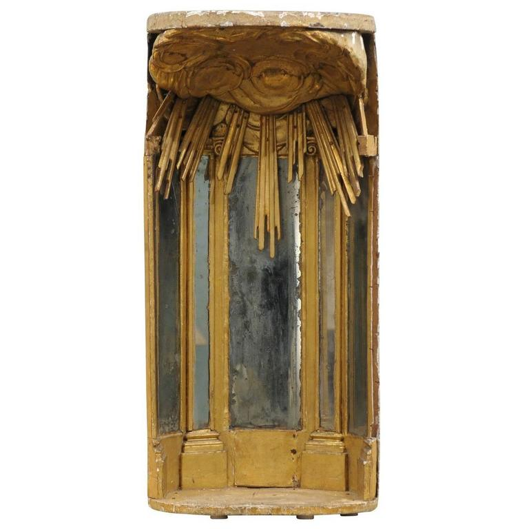 Italian 19th Century Giltwood Altar Piece with Cloudy Sun-Ray Motifs For Sale