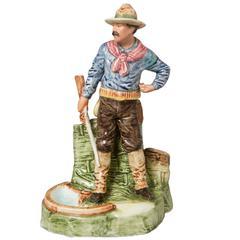 German Majolica Teddy Roosevelt Roughrider Smokestand