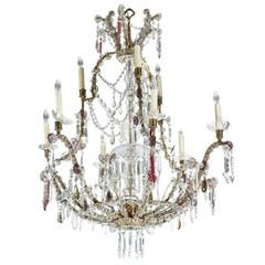 1900s, Cut Crystal, Sicilian Chandelier