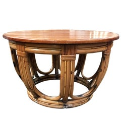Restored Circular Rattan Coffee Table with Mahogany Top