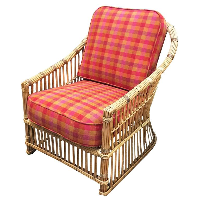 Restored president 39 s art deco stick rattan lounge chair for sale at 1stdibs - Lounge deco ...