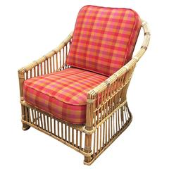 "Restored ""President's"" Art Deco Stick Rattan Lounge Chair"