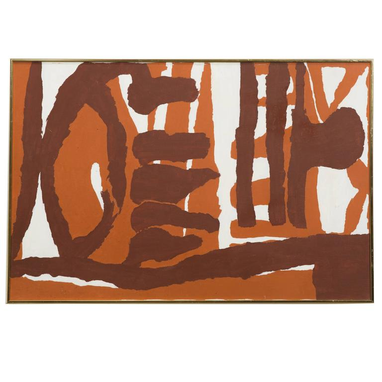 1970s Brown Abstract Painting