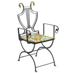 Iron Lyre Back Swan Chair