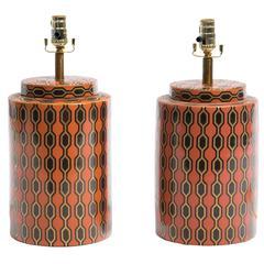Pair of Kelly Hoppen Porcelain Tea Jar Lamps