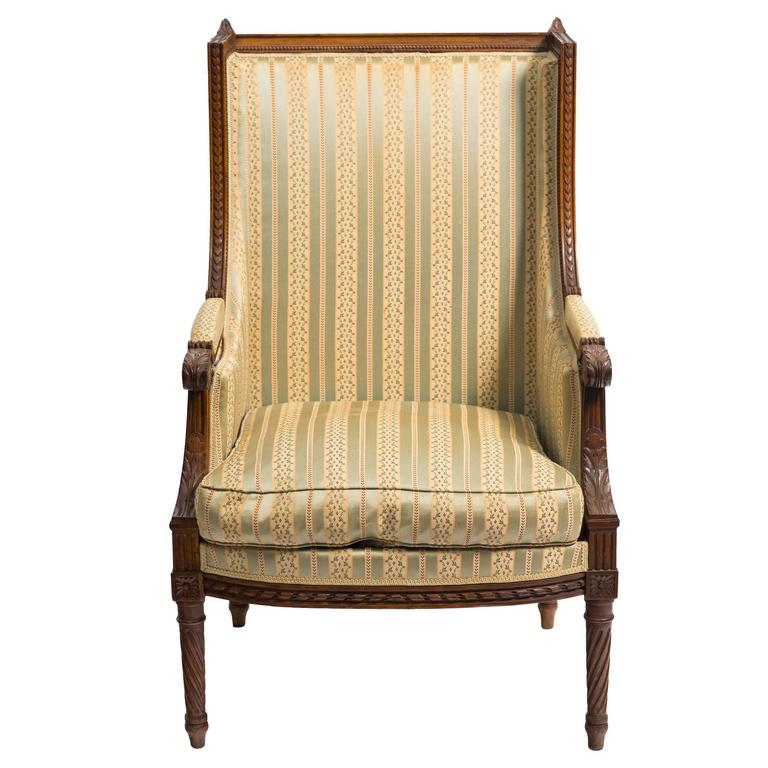 Carved French Wingback Chair