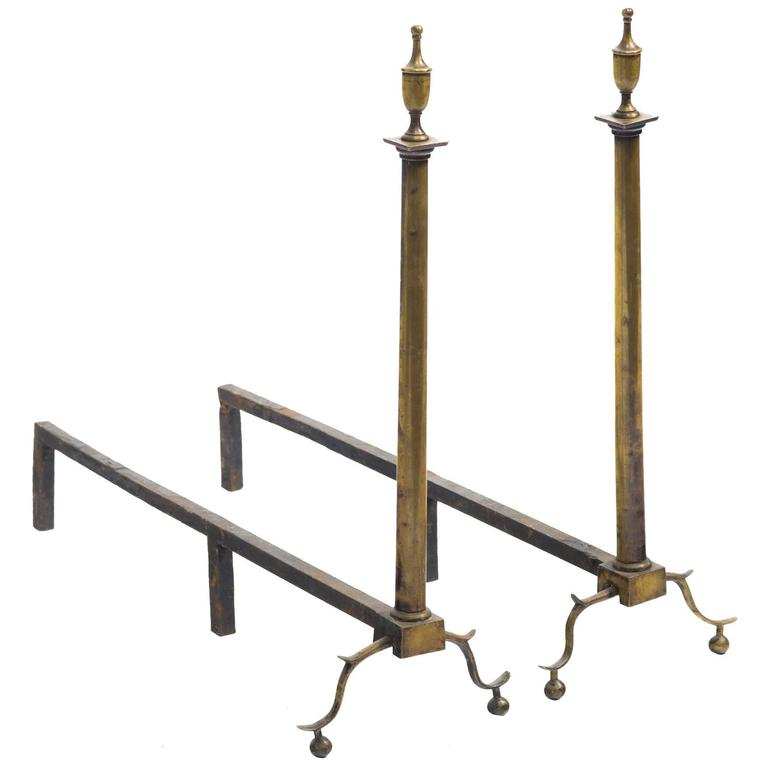 Pair of Brass English Andirons For Sale